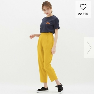 GU - GU リネンブレンドテーパードパンツ 黄色 Msize