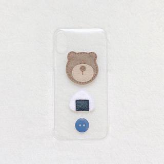 くま おにぎり どうぶつ ボタン iPhoneケース ハンドメイド