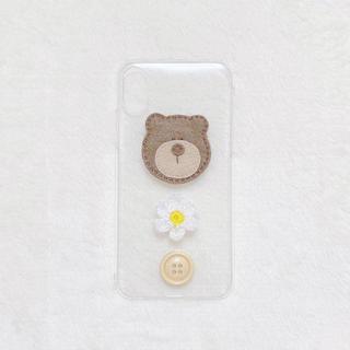 くま お花 ボタン どうぶつ iPhoneケース ハンドメイド