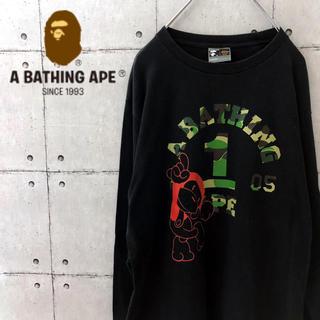 アベイシングエイプ(A BATHING APE)の【希少】アベイシングエイプ カモ柄 ロンT 黒(Tシャツ/カットソー(七分/長袖))