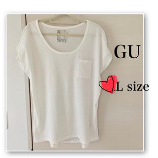 GU - GU♡白 Tシャツ♡Uネック♡ポケット♡ゆるT