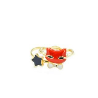 【新品!猫と星の2連リング  ブラック×レッド】(リング(指輪))