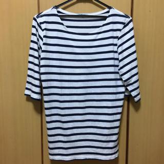 グローバルワーク(GLOBAL WORK)のTシャツ 半袖 白×濃紺 ボーダー(Tシャツ/カットソー(半袖/袖なし))