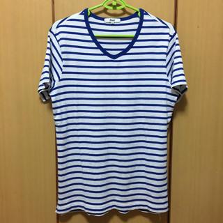 アベイル(Avail)のTシャツ 半袖 白×青 ボーダー Vネック(Tシャツ/カットソー(半袖/袖なし))