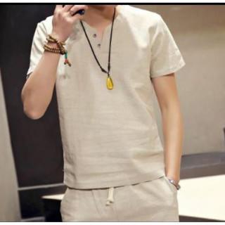 L 【アプリコットベージュ】王道モテシャツ☆シンプルリネンTシャツ(Tシャツ/カットソー(半袖/袖なし))