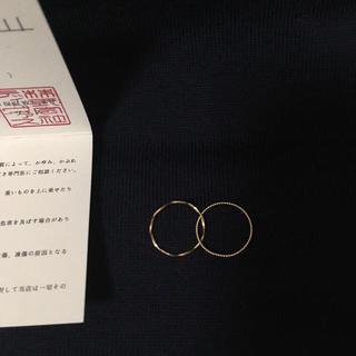 18K 2連スパイラルピンキーリング ピンクゴールド 3号 華奢リング 刻印あり(リング(指輪))