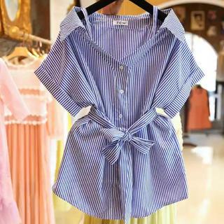 snidel - 【送料無料】ストライプ柄シャツ ウエストマークシャツ 半袖シャツ 夏物 新商品