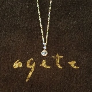 アガット(agete)のアガット 0.02ct二粒ダイヤモンドのK10ネックレス(ネックレス)