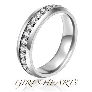送料無料22号クロムシルバースーパーCZダイヤステンレスフルエタニティリング指輪(リング(指輪))