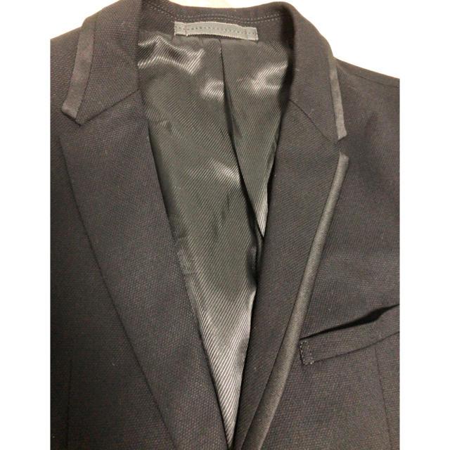 m.f.editorial(エムエフエディトリアル)のテーラードジャケット アシンメトリー 黒 ブラック 無地 メンズのジャケット/アウター(テーラードジャケット)の商品写真
