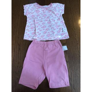 ユニクロ(UNIQLO)のUNIQLO ピンク 花柄 パジャマ 80cm(パジャマ)