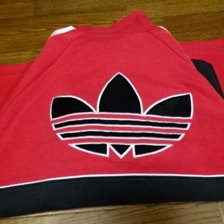 アディダス(adidas)の【良好】【レア 刺繍 3つ葉ビッグロゴ】アディダス!スェットプルオーバー(パーカー)
