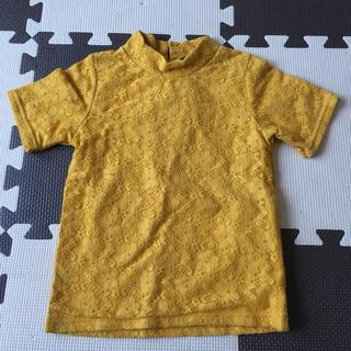 フタフタ(futafuta)のレース半袖トップス黄色イエロー100(Tシャツ/カットソー)