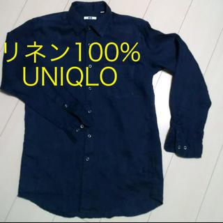 《UNIQLO》リネンシャツ メンズ ネイビー M