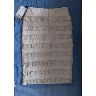 バーニーズニューヨーク(BARNEYS NEW YORK)の定価33000円 新品 オリゾンティ マヤハンソンスカート ベージュ フリル(ひざ丈スカート)