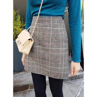 dholic - 韓国ファッション ディーホリック スカート ミニ チェック きれいめ グレー