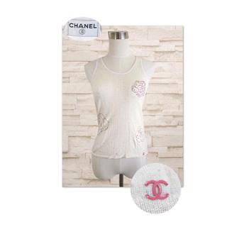 シャネル(CHANEL)のCHANEL ピンクココマーク シャーベットカラーのカメリアが咲くニットソー(カットソー(半袖/袖なし))