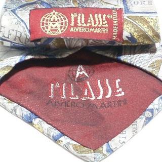 プリマクラッセ(PRIMA CLASSE)の新品同様イタリア製プリマクラッセ ネクタイ(茶色紺色黄色系抽象柄アート柄(ネクタイ)