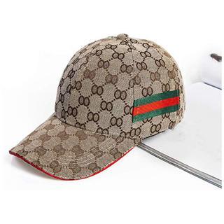 Gucci - 【海外購入品】GUCCI 男女共用 キャップ ライン ブラウン