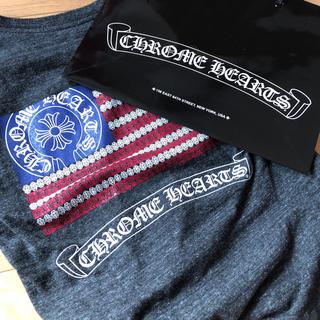 クロムハーツ(Chrome Hearts)の再出品最安値 正規品クロムハーツ星条旗プリント霜降りVネック半袖TシャツM 単品(Tシャツ/カットソー(半袖/袖なし))
