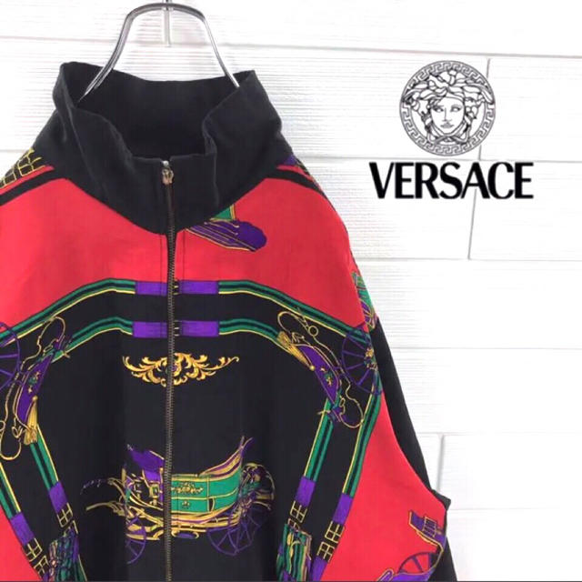 VERSACE(ヴェルサーチ)の☆激レア☆ 正規品 ヴェルサーチ レアカラー 総柄 ブルゾン 90s ゆるダボ メンズのジャケット/アウター(ブルゾン)の商品写真