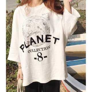 【大きめサイズ】ビックプリント七分袖Tシャツ
