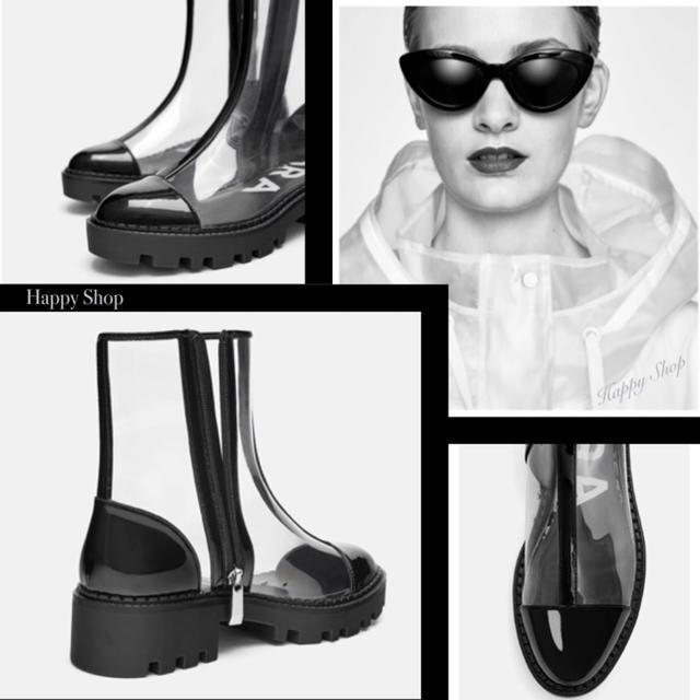 ZARA(ザラ)の限定1点‼️【希少 完売】雨の日も大人モード★クールビューティーな透明ブーツ★ レディースの靴/シューズ(ブーツ)の商品写真