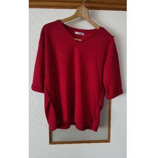 シマムラ(しまむら)のしまむら赤ニットTシャツ(Tシャツ(半袖/袖なし))