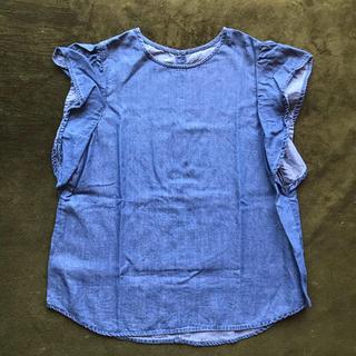 ジーユー(GU)のGU デニム カットソー ブラウス Sサイズ(シャツ/ブラウス(半袖/袖なし))