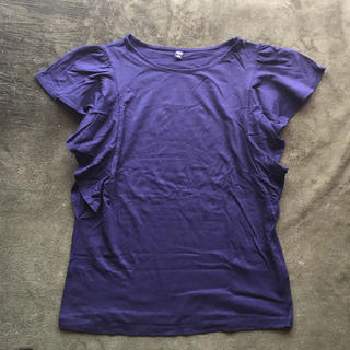 GU - GU カットソー ネイビー 袖 フリル Tシャツ