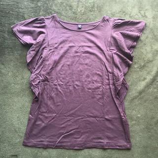 ジーユー(GU)のGU フリル 袖 ブラウン カットソー Tシャツ(Tシャツ(半袖/袖なし))