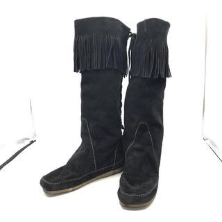 エストネーション(ESTNATION)の エストネーション  ロング ブーツ ブラック フリンジ シンプル スウェード(ブーツ)