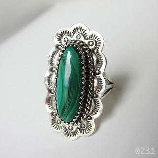 インディアンジュエリー リング シルバー 新品 孔雀石 マラカイト 天然石 銀(リング(指輪))