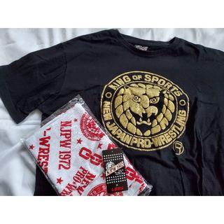 一度のみ着用 しまむら × 新日本プロレス Tシャツ 4L ブラック