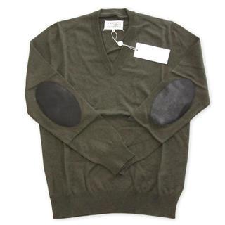 マルタンマルジェラ(Maison Martin Margiela)の新品 マルタン マルジェラ エルボーパッチ ニット Vネック セーター L(ニット/セーター)