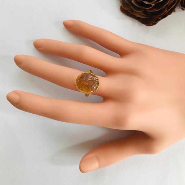 アメトリンジェムカービング リング インドジュエリー レディースのアクセサリー(リング(指輪))の商品写真