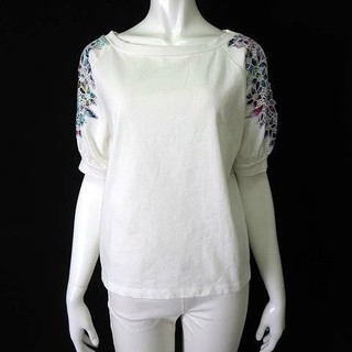 JEANASIS - ジーナシス JEANASIS Tシャツ  オープンショルダー 肩開き 花柄 刺繍
