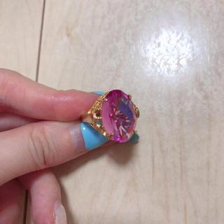 大粒合成キャンディピンクサファイアのヴィンテージリング(リング(指輪))