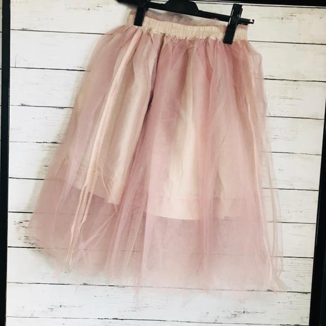 LIZ LISA(リズリサ)のリズリサ スモーキーピンクチュールスカート 新品   レディースのスカート(ひざ丈スカート)の商品写真