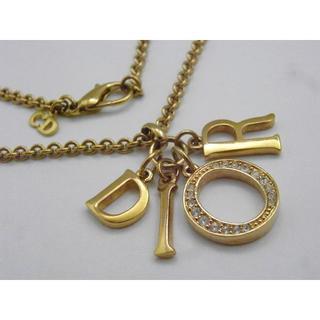 クリスチャンディオール(Christian Dior)のChristian Dior ロゴネックレス ゴールド ラインストーン (ネックレス)