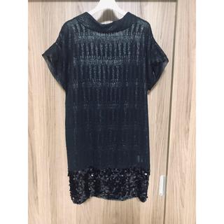 エストネーション(ESTNATION)のESTNATION ブラック スパンコール付 ドレス(ミニワンピース)