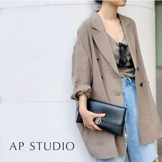 アパルトモンドゥーズィエムクラス(L'Appartement DEUXIEME CLASSE)の19SS AP STUDIO オーバーサイズリネンコート 定価48,600円 (スプリングコート)