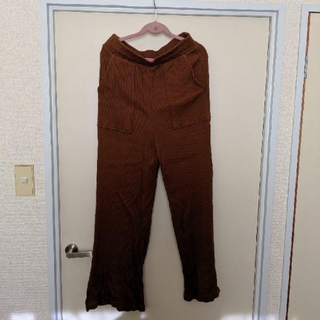 GU(ジーユー)のリブスリットワイドパンツ レディースのパンツ(カジュアルパンツ)の商品写真