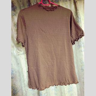 ジーユー(GU)のフリルネックT(半袖)(Tシャツ(半袖/袖なし))