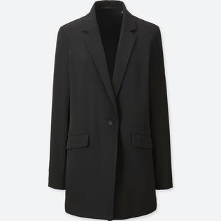 ユニクロ(UNIQLO)のドレープロングジャケット 黒(テーラードジャケット)