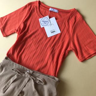 アーバンリサーチ(URBAN RESEARCH)の新品 アーバンリサーチ 半袖 Tシャツ トップス  リブカットソー オレンジ(Tシャツ(半袖/袖なし))