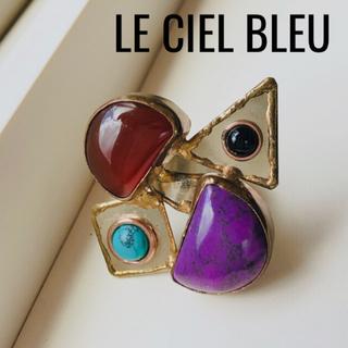 ルシェルブルー(LE CIEL BLEU)の美品☆ルシェルブルー ストーンリング 大ぶり(リング(指輪))