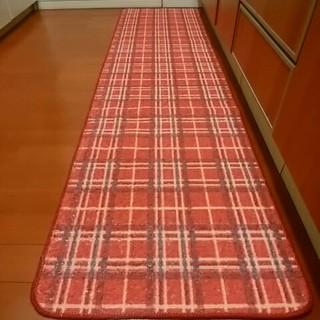 キッチンマット 120 180 長いマット 日本製 洗濯可 赤 滑り止め加工