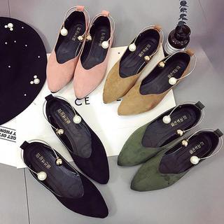 【新品】パンプス レディース 靴 ローヒール フラット スエード ぺたんこ(ハイヒール/パンプス)