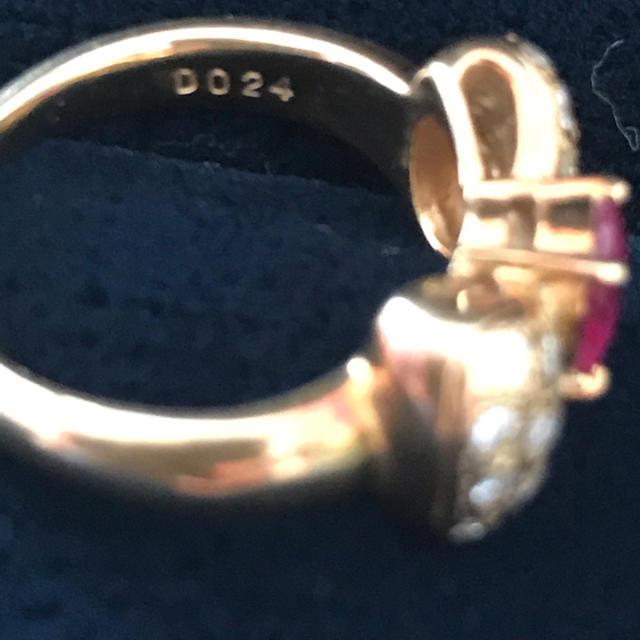 美品❤️K18 ルビー ダイヤモンド リボンリング レディースのアクセサリー(リング(指輪))の商品写真